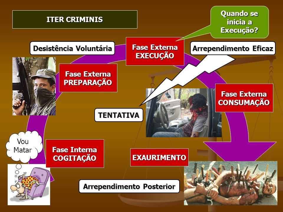 ITER CRIMINIS Vou Matar Fase Interna COGITAÇÃO Fase Externa PREPARAÇÃO EXECUÇÃO Quando se inicia a Execução? Fase Externa CONSUMAÇÃO EXAURIMENTO TENTA