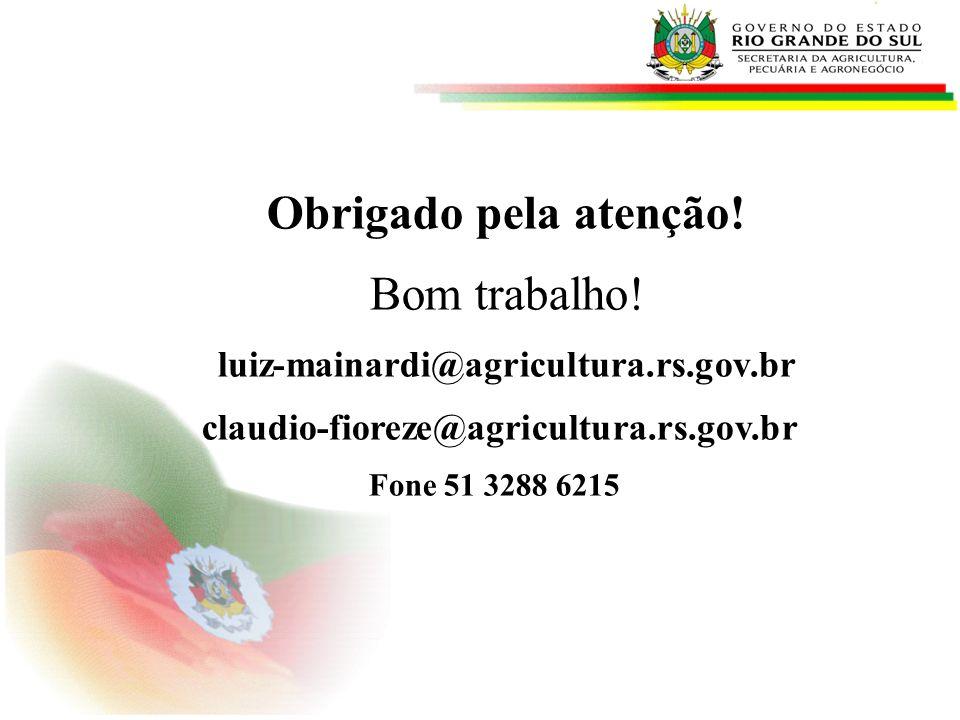 Obrigado pela atenção! Bom trabalho! luiz-mainardi@agricultura.rs.gov.br claudio-fioreze@agricultura.rs.gov.br Fone 51 3288 6215