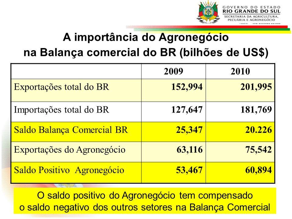 Rio Grande do Sul - Balança Comercial - 2009 (em bilhões de US$) Exportações TotaisImportações totais Saldo 15.236.112.600,00*9.471.410.912,00 5.764.701.688,00 *Exportações do Agronegócio 2009: R$ 9.039.270.60 = 62% do total das Exportações Gaúchas RS: 2º maior exportador do Agronegócio Brasileiro