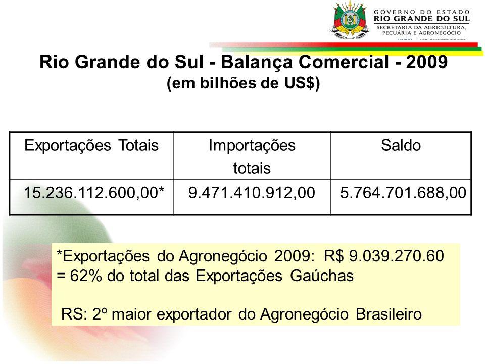 Rio Grande do Sul - Balança Comercial - 2009 (em bilhões de US$) Exportações TotaisImportações totais Saldo 15.236.112.600,00*9.471.410.912,00 5.764.7