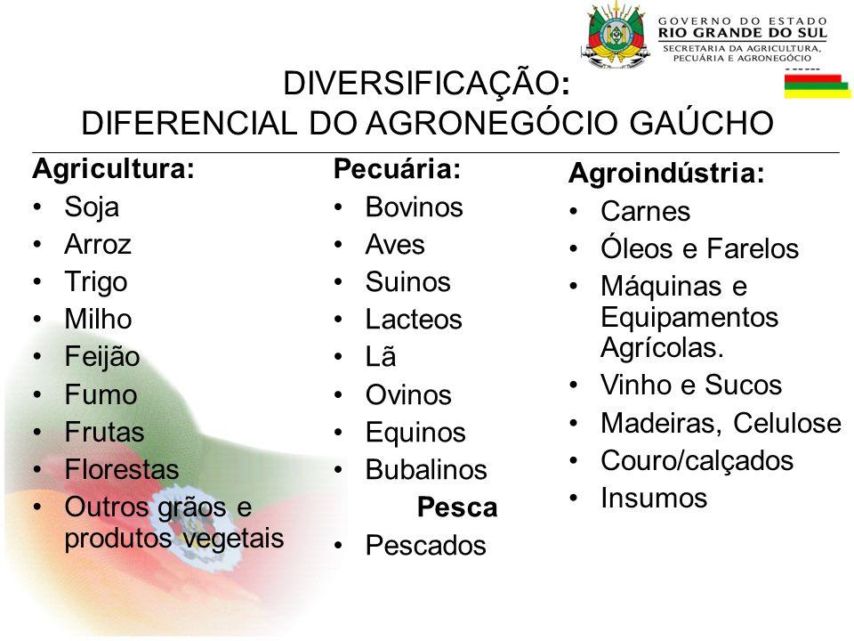SECRETARIA DA AGRICULTURA, PECUARIA e AGRONEGÓCIO Principais Programas Projetos e Ações Objetivo: aumentar a produção, a qualidade e a renda do agronegócio gaúcho.
