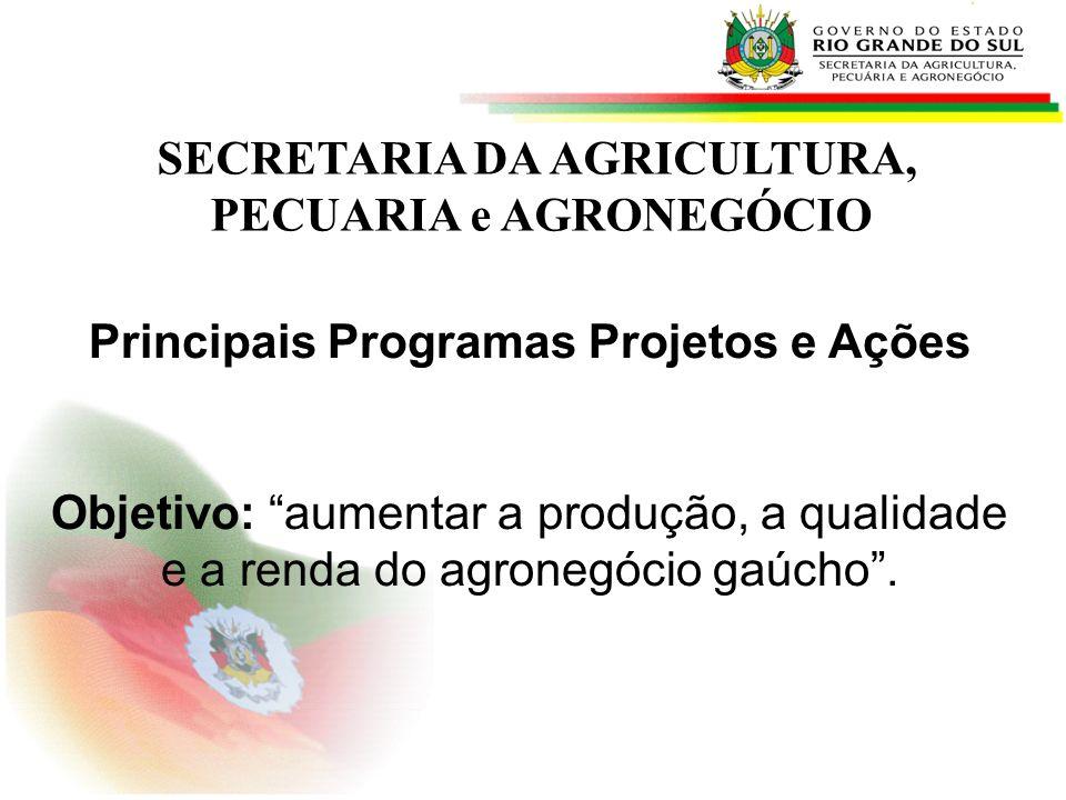 SECRETARIA DA AGRICULTURA, PECUARIA e AGRONEGÓCIO Principais Programas Projetos e Ações Objetivo: aumentar a produção, a qualidade e a renda do agrone