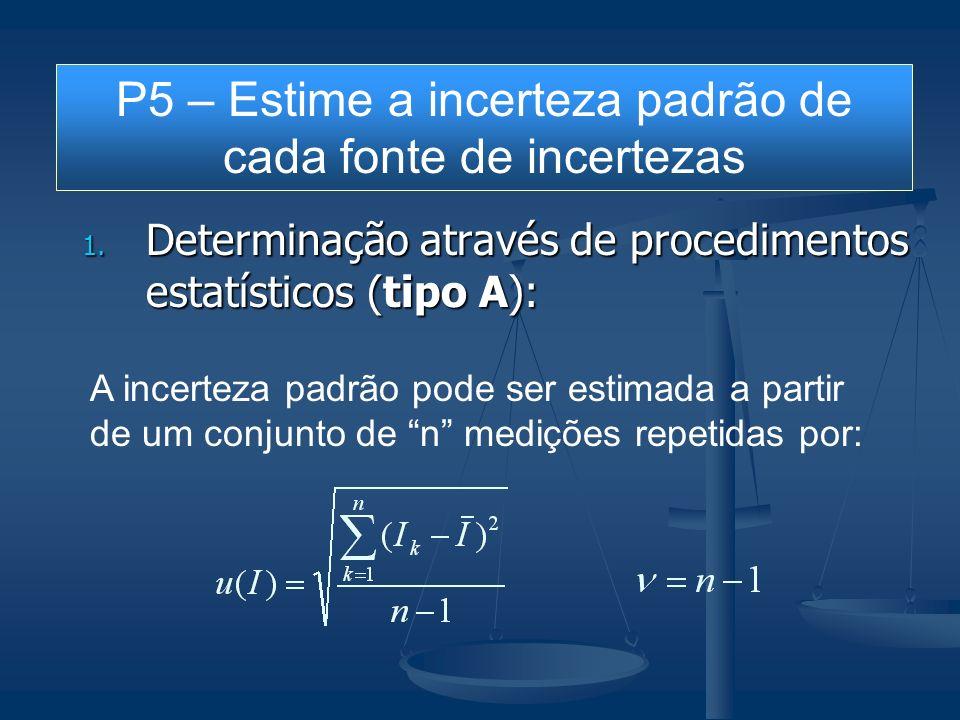 1. Determinação através de procedimentos estatísticos (tipo A): A incerteza padrão pode ser estimada a partir de um conjunto de n medições repetidas p