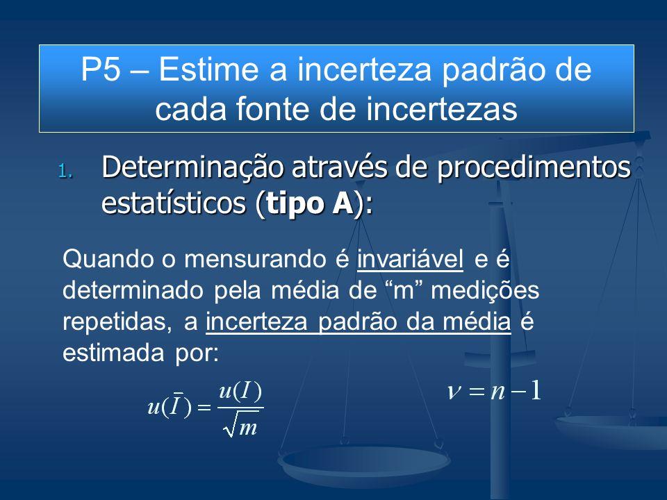 1. Determinação através de procedimentos estatísticos (tipo A): Quando o mensurando é invariável e é determinado pela média de m medições repetidas, a