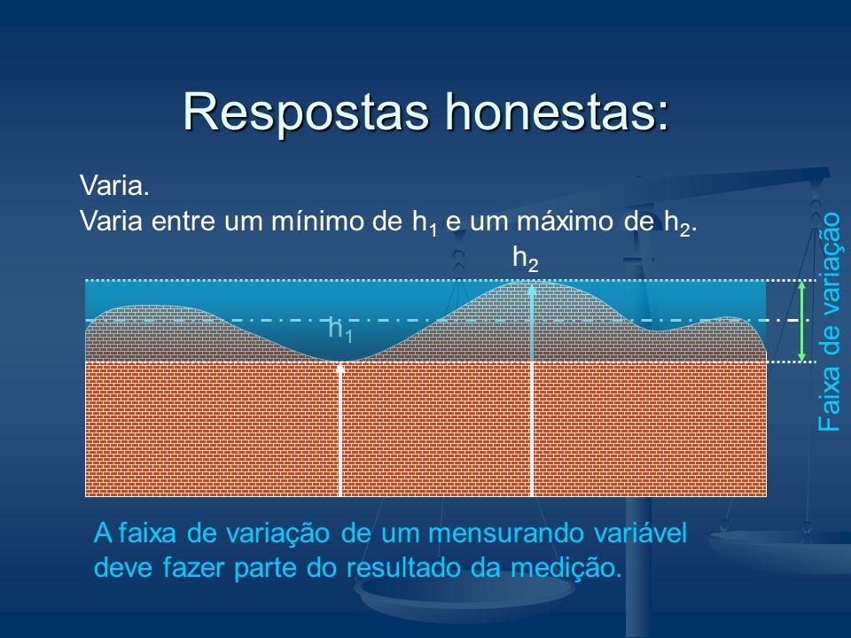 Respostas honestas: Varia. h1h1 h2h2 Varia entre um mínimo de h 1 e um máximo de h 2. A faixa de variação de um mensurando variável deve fazer parte d