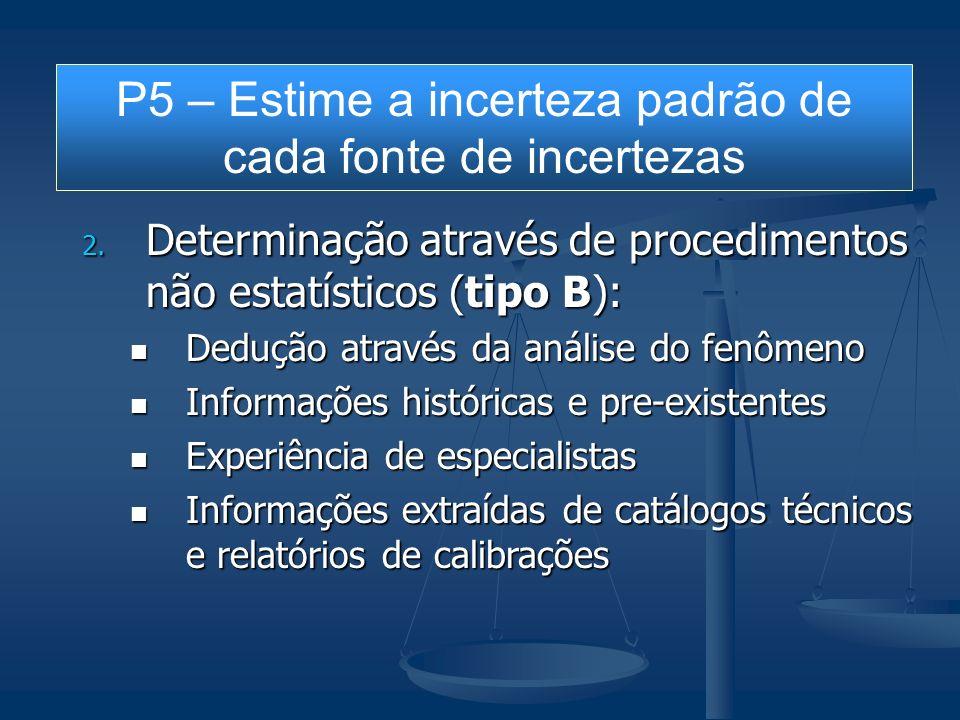 2. Determinação através de procedimentos não estatísticos (tipo B): Dedução através da análise do fenômeno Dedução através da análise do fenômeno Info
