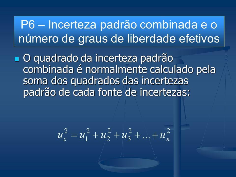 O quadrado da incerteza padrão combinada é normalmente calculado pela soma dos quadrados das incertezas padrão de cada fonte de incertezas: O quadrado