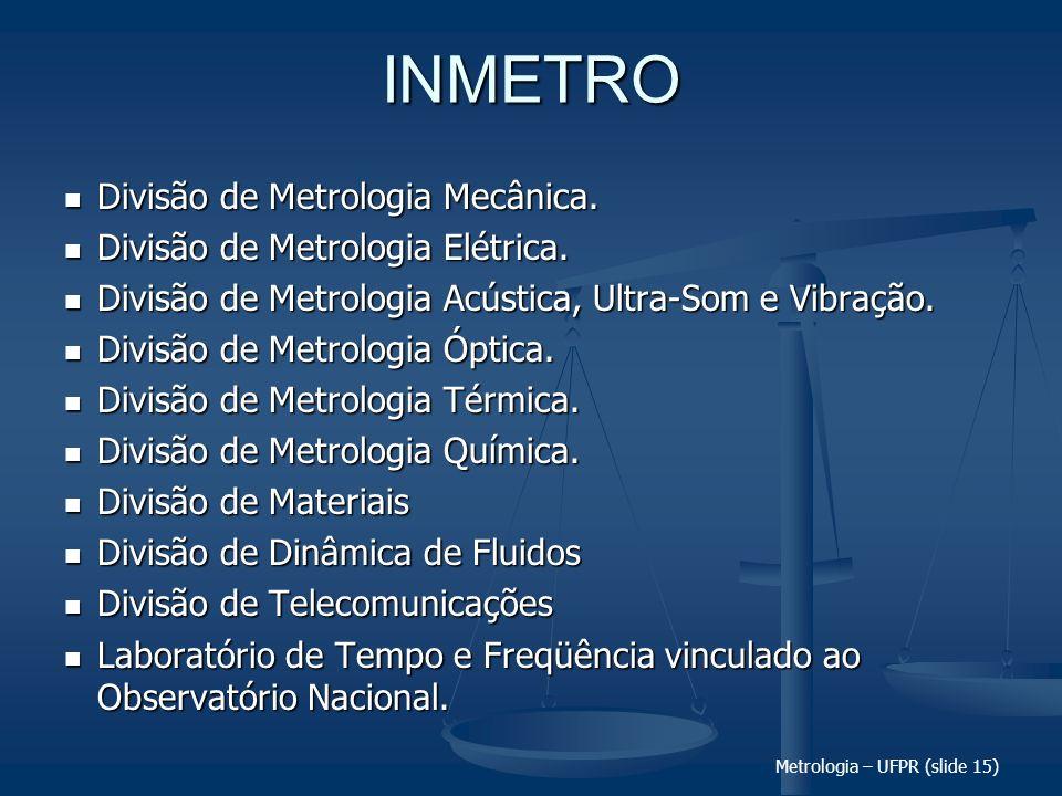 Metrologia – UFPR (slide 15) INMETRO Divisão de Metrologia Mecânica. Divisão de Metrologia Mecânica. Divisão de Metrologia Elétrica. Divisão de Metrol