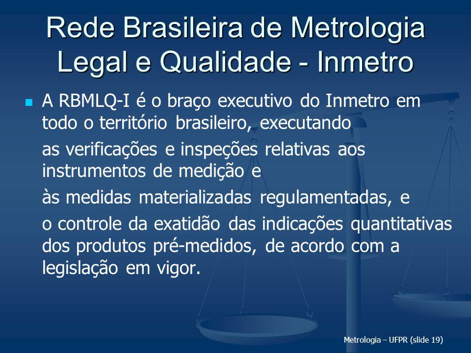 Metrologia – UFPR (slide 19) Rede Brasileira de Metrologia Legal e Qualidade - Inmetro A RBMLQ-I é o braço executivo do Inmetro em todo o território b
