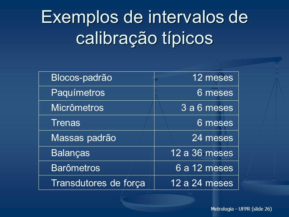 Metrologia – UFPR (slide 26) Exemplos de intervalos de calibração típicos Blocos-padrão Paquímetros Micrômetros Trenas Massas padrão Balanças Barômetr