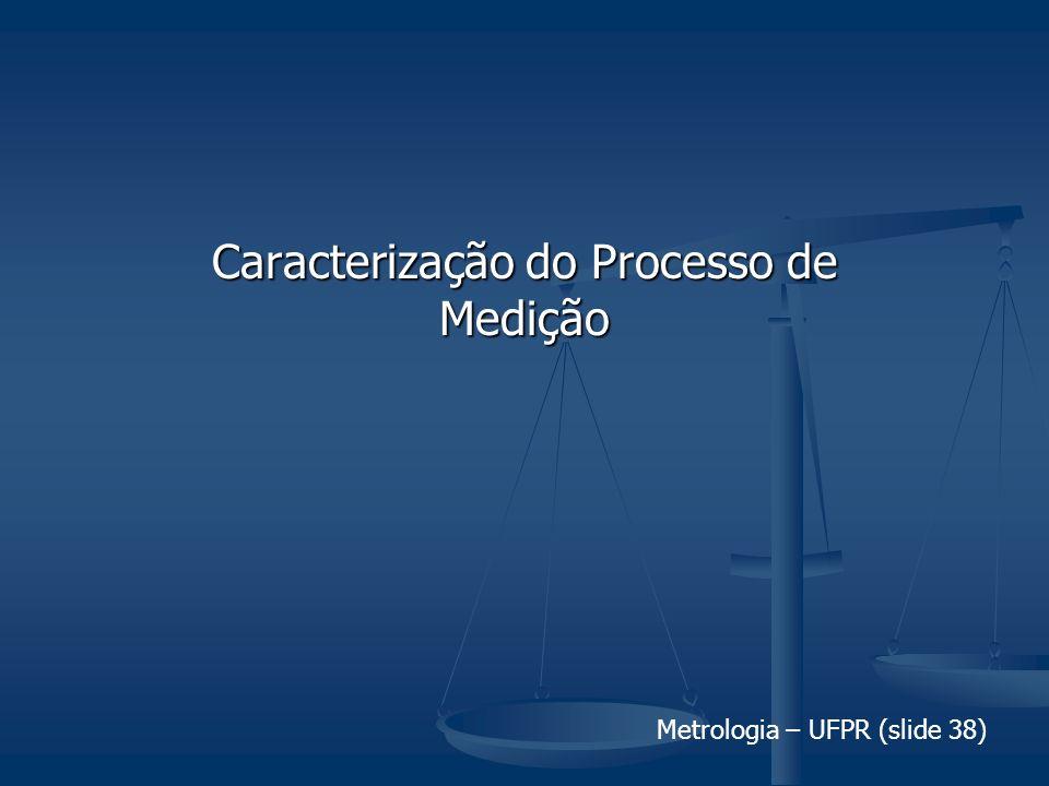Metrologia – UFPR (slide 38) Caracterização do Processo de Medição