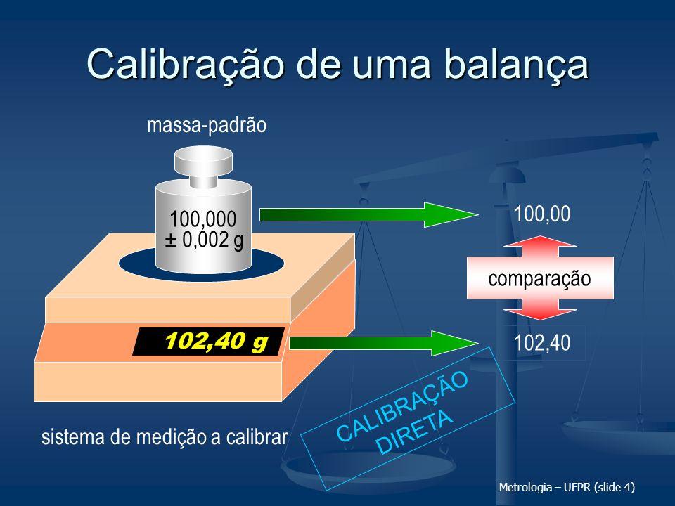 Metrologia – UFPR (slide 4) Calibração de uma balança sistema de medição a calibrar 102,40 comparação 100,00 102,40 g ± 0,002 g massa-padrão 100,000 C