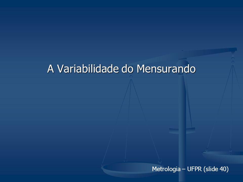 Metrologia – UFPR (slide 40) A Variabilidade do Mensurando