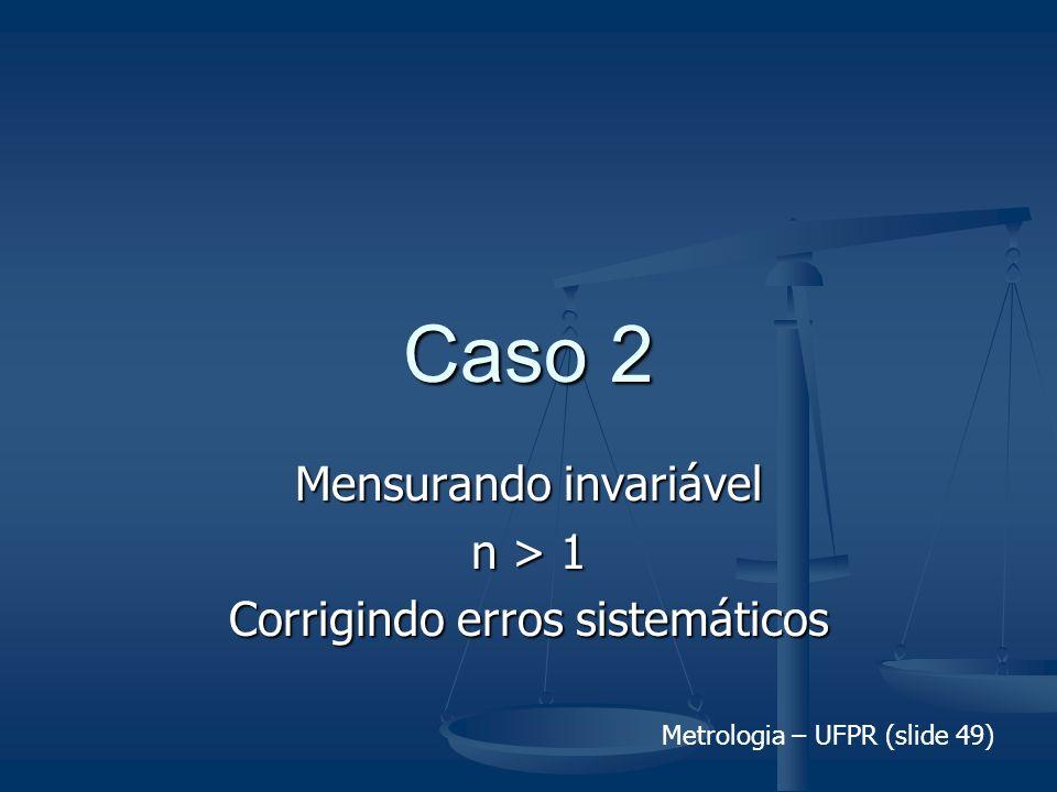 Metrologia – UFPR (slide 49) Caso 2 Mensurando invariável n > 1 Corrigindo erros sistemáticos