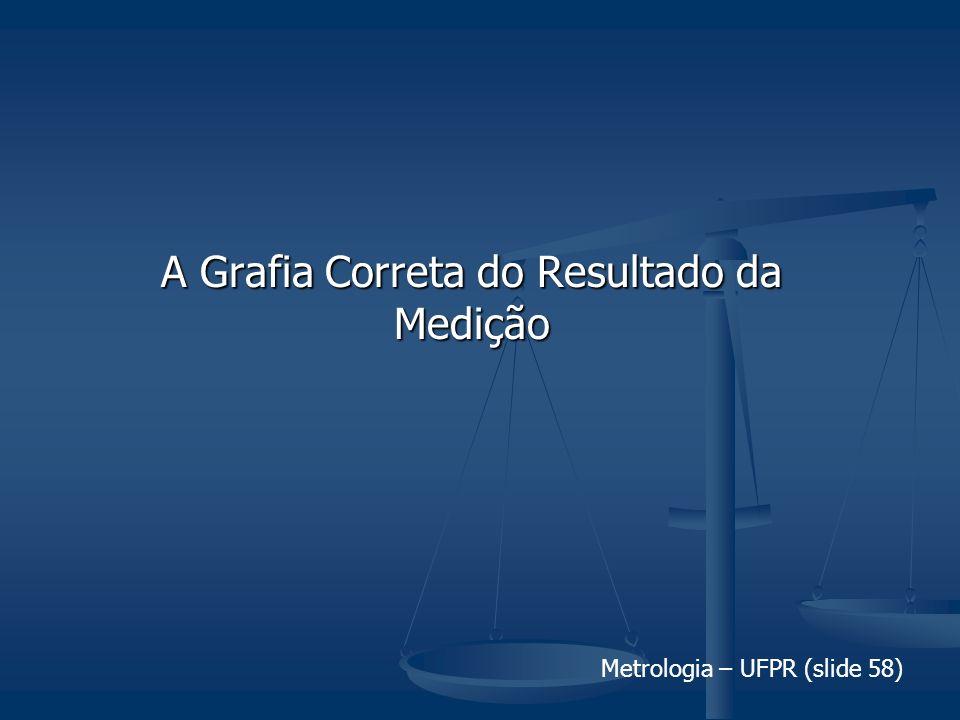 Metrologia – UFPR (slide 58) A Grafia Correta do Resultado da Medição