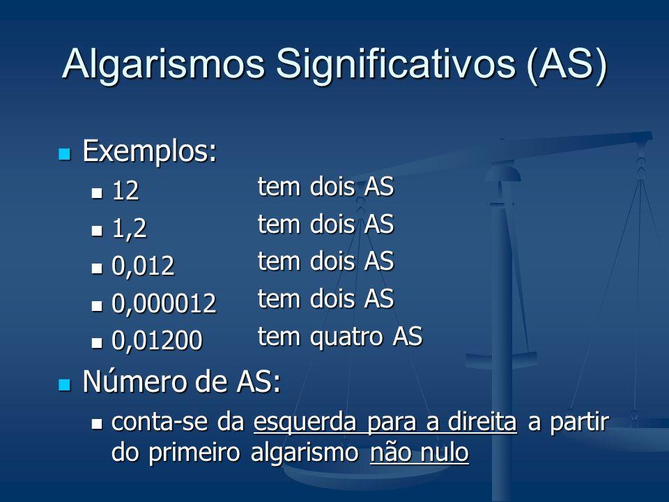 Algarismos Significativos (AS) Exemplos: Exemplos: 12 12 1,2 1,2 0,012 0,012 0,000012 0,000012 0,01200 0,01200 Número de AS: Número de AS: conta-se da