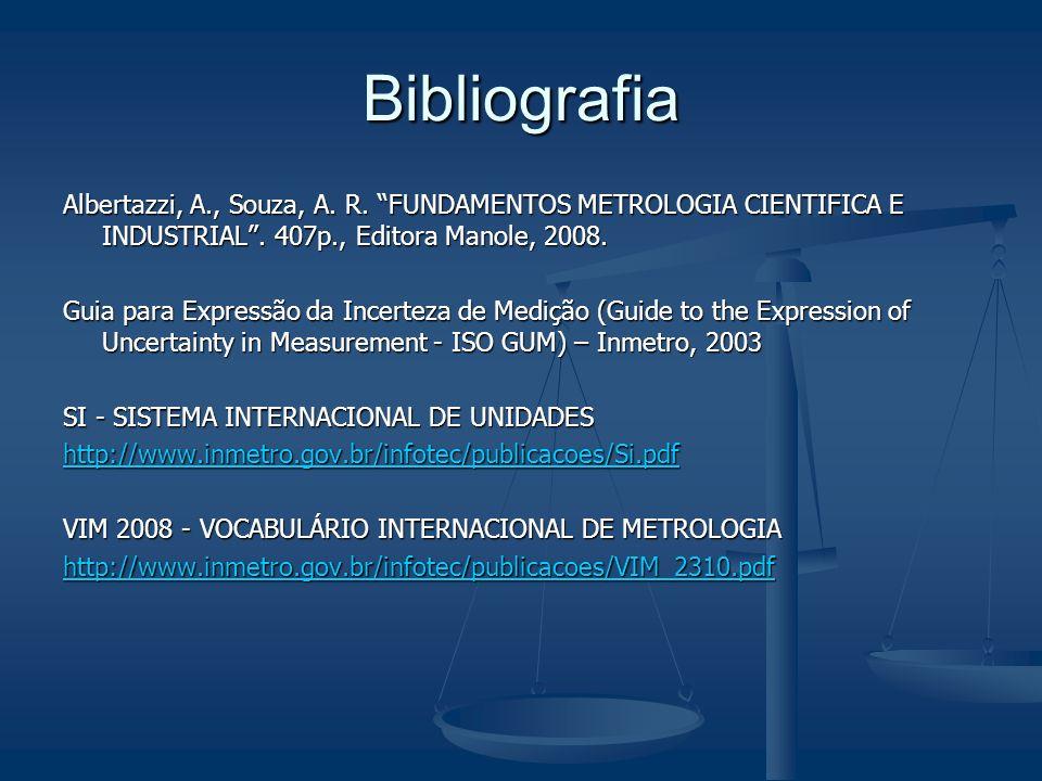 Bibliografia Albertazzi, A., Souza, A. R. FUNDAMENTOS METROLOGIA CIENTIFICA E INDUSTRIAL. 407p., Editora Manole, 2008. Guia para Expressão da Incertez