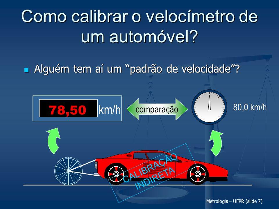 Metrologia – UFPR (slide 7) Como calibrar o velocímetro de um automóvel? Alguém tem aí um padrão de velocidade? Alguém tem aí um padrão de velocidade?