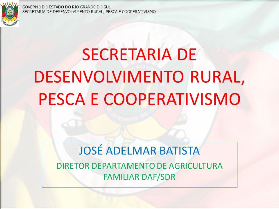 SECRETARIA DE DESENVOLVIMENTO RURAL, PESCA E COOPERATIVISMO JOSÉ ADELMAR BATISTA DIRETOR DEPARTAMENTO DE AGRICULTURA FAMILIAR DAF/SDR GOVERNO DO ESTADO DO RIO GRANDE DO SUL SECRETARIA DE DESENVOLVIMENTO RURAL, PESCA E COOPERATIVISMO