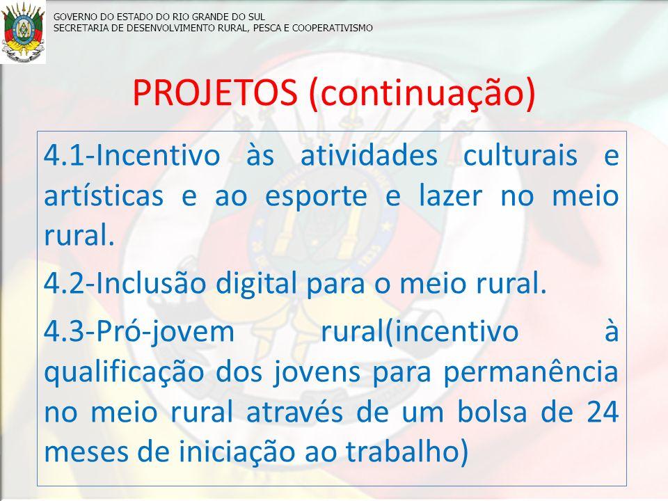 PROJETOS (continuação) 4.1-Incentivo às atividades culturais e artísticas e ao esporte e lazer no meio rural.
