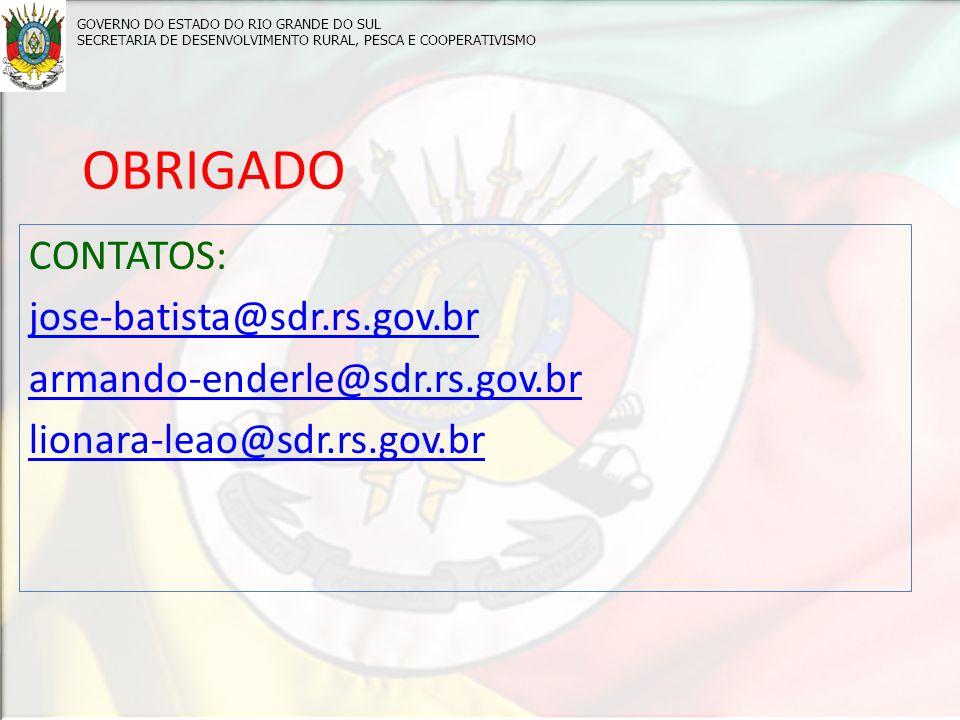 OBRIGADO CONTATOS: jose-batista@sdr.rs.gov.br armando-enderle@sdr.rs.gov.br lionara-leao@sdr.rs.gov.br GOVERNO DO ESTADO DO RIO GRANDE DO SUL SECRETARIA DE DESENVOLVIMENTO RURAL, PESCA E COOPERATIVISMO