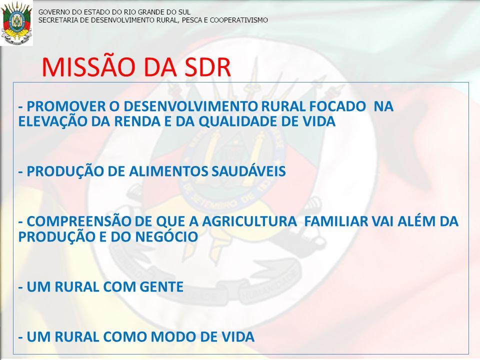 MISSÃO DA SDR - PROMOVER O DESENVOLVIMENTO RURAL FOCADO NA ELEVAÇÃO DA RENDA E DA QUALIDADE DE VIDA - PRODUÇÃO DE ALIMENTOS SAUDÁVEIS - COMPREENSÃO DE QUE A AGRICULTURA FAMILIAR VAI ALÉM DA PRODUÇÃO E DO NEGÓCIO - UM RURAL COM GENTE - UM RURAL COMO MODO DE VIDA GOVERNO DO ESTADO DO RIO GRANDE DO SUL SECRETARIA DE DESENVOLVIMENTO RURAL, PESCA E COOPERATIVISMO