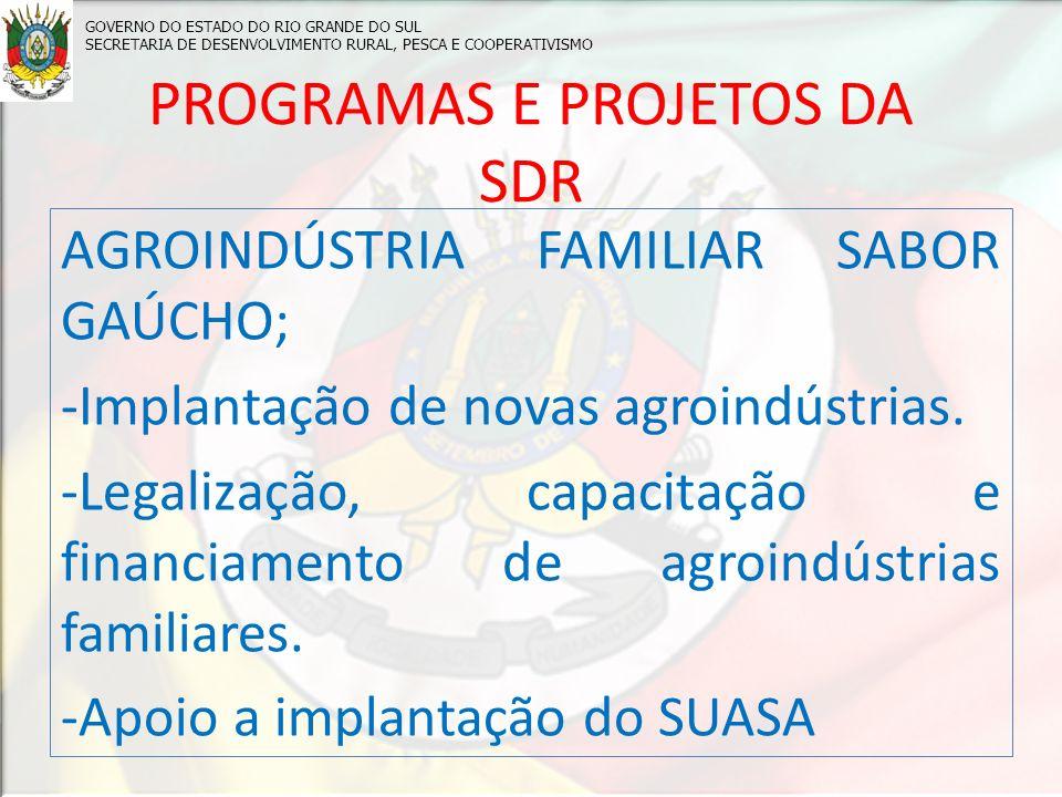 PROGRAMAS E PROJETOS DA SDR AGROINDÚSTRIA FAMILIAR SABOR GAÚCHO; -Implantação de novas agroindústrias.