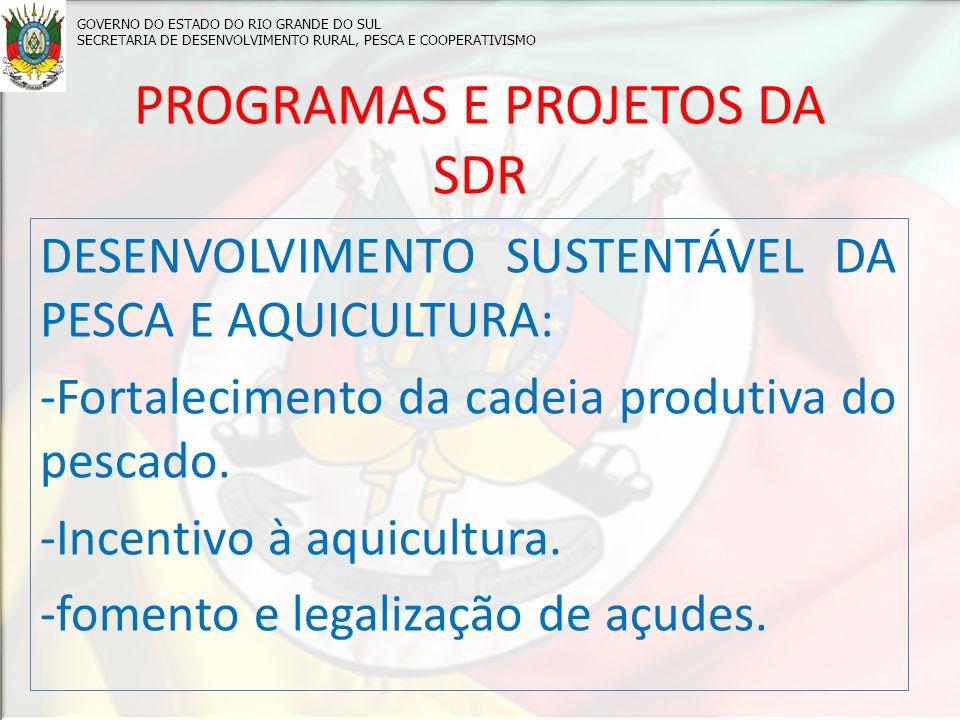 PROGRAMAS E PROJETOS DA SDR DESENVOLVIMENTO SUSTENTÁVEL DA PESCA E AQUICULTURA: -Fortalecimento da cadeia produtiva do pescado.