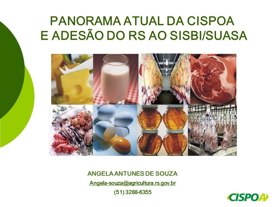 PANORAMA ATUAL DA CISPOA E ADESÃO DO RS AO SISBI/SUASA ANGELA ANTUNES DE SOUZA Angela-souza@agricultura.rs.gov.br@agricultura.rs.gov.br (51) 3288-6355