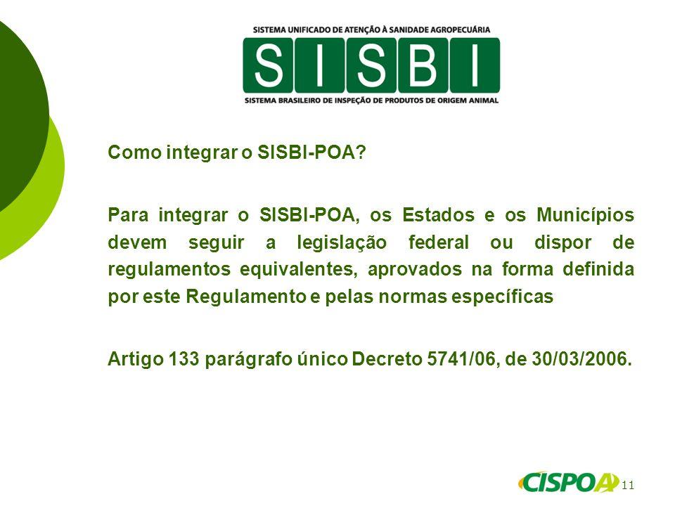 11 Como integrar o SISBI-POA? Para integrar o SISBI-POA, os Estados e os Municípios devem seguir a legislação federal ou dispor de regulamentos equiva