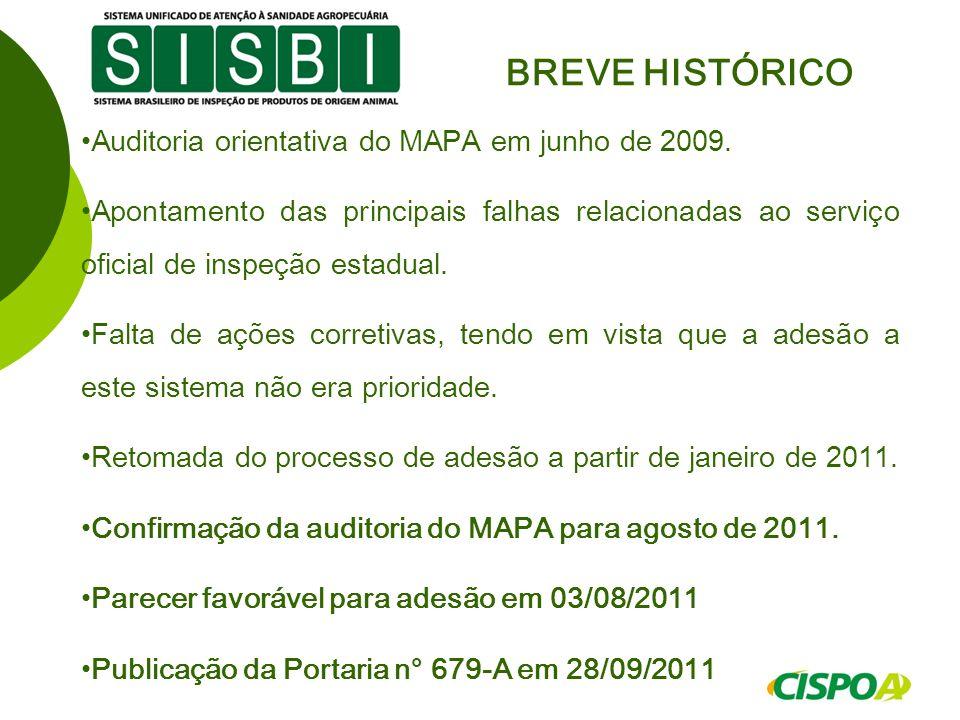 Auditoria orientativa do MAPA em junho de 2009. Apontamento das principais falhas relacionadas ao serviço oficial de inspeção estadual. Falta de ações