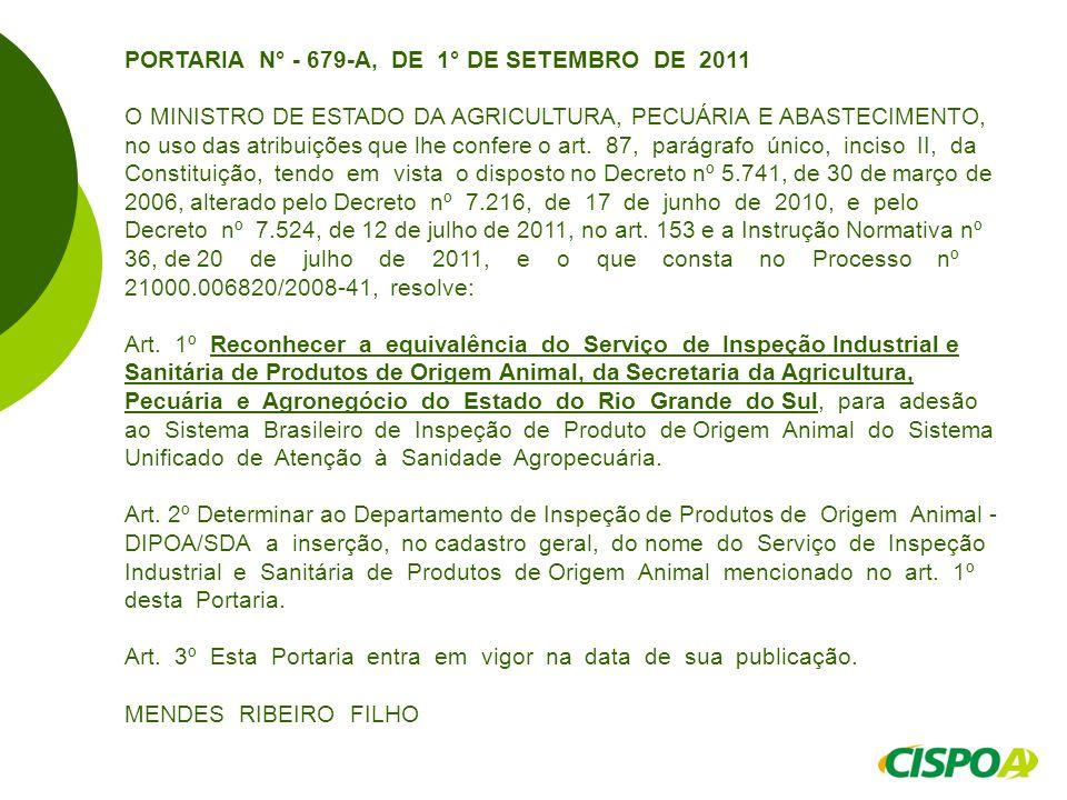 PORTARIA N° - 679-A, DE 1° DE SETEMBRO DE 2011 O MINISTRO DE ESTADO DA AGRICULTURA, PECUÁRIA E ABASTECIMENTO, no uso das atribuições que lhe confere o