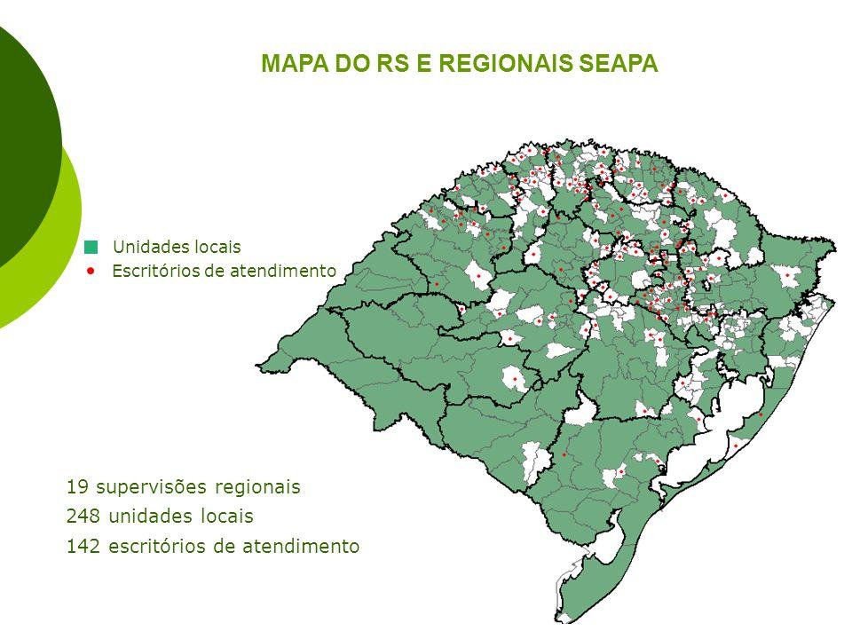 MAPA DO RS E REGIONAIS SEAPA 19 supervisões regionais 248 unidades locais 142 escritórios de atendimento Escritórios de atendimento Unidades locais