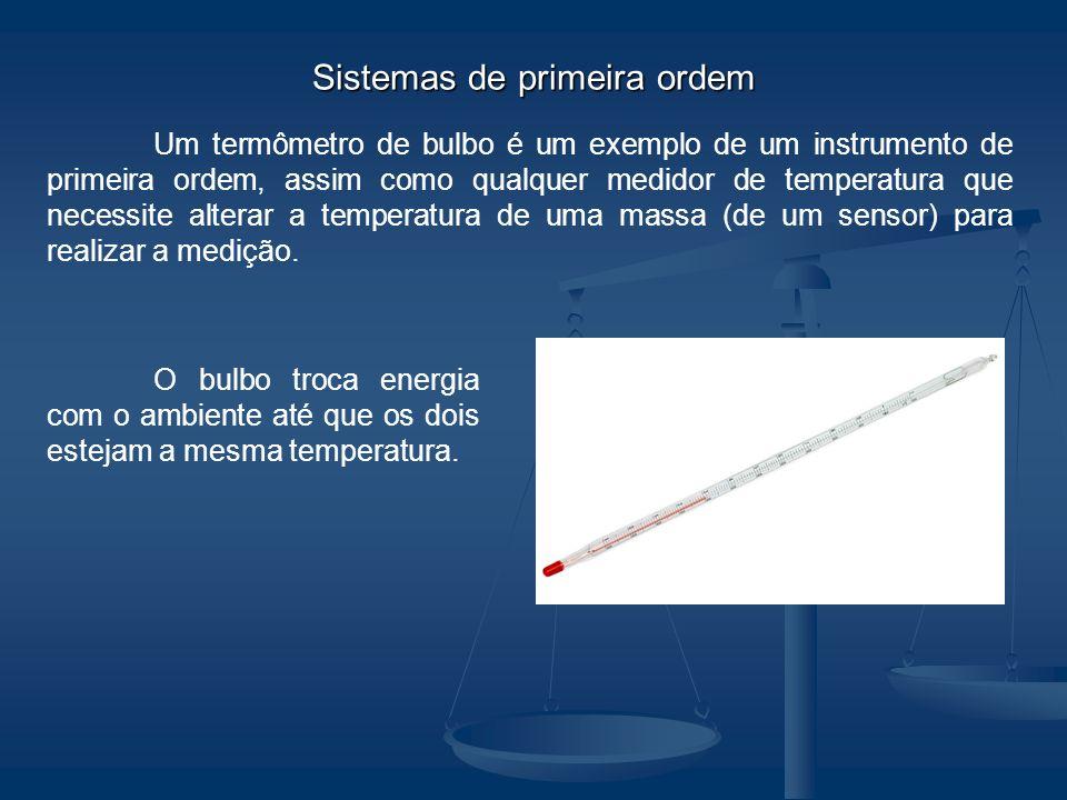 Um termômetro de bulbo é um exemplo de um instrumento de primeira ordem, assim como qualquer medidor de temperatura que necessite alterar a temperatur