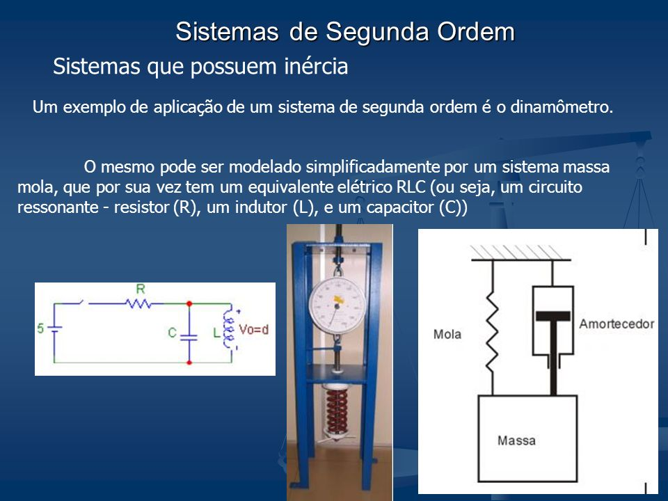 Sistemas de Segunda Ordem Sistemas que possuem inércia Um exemplo de aplicação de um sistema de segunda ordem é o dinamômetro. O mesmo pode ser modela