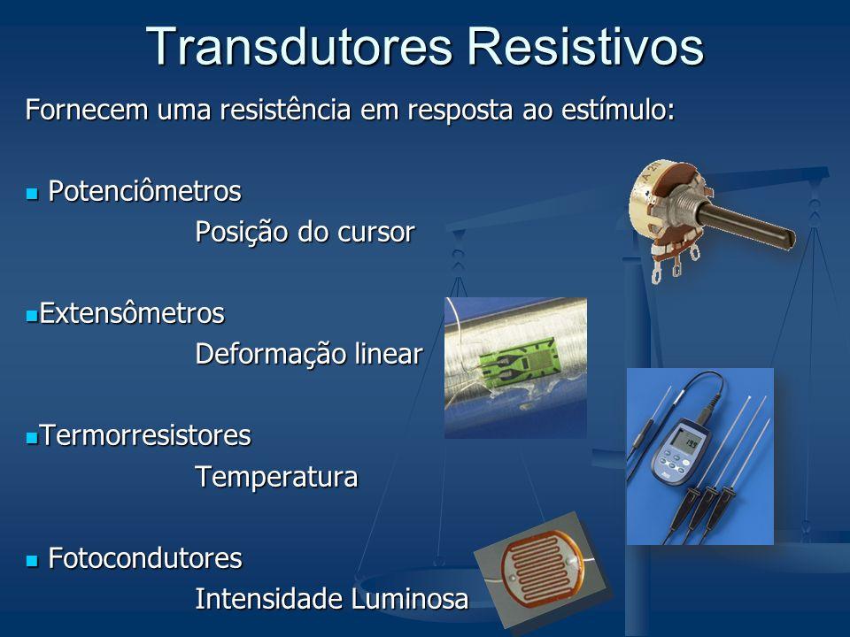 Transdutores Resistivos Fornecem uma resistência em resposta ao estímulo: Potenciômetros Potenciômetros Posição do cursor Extensômetros Extensômetros
