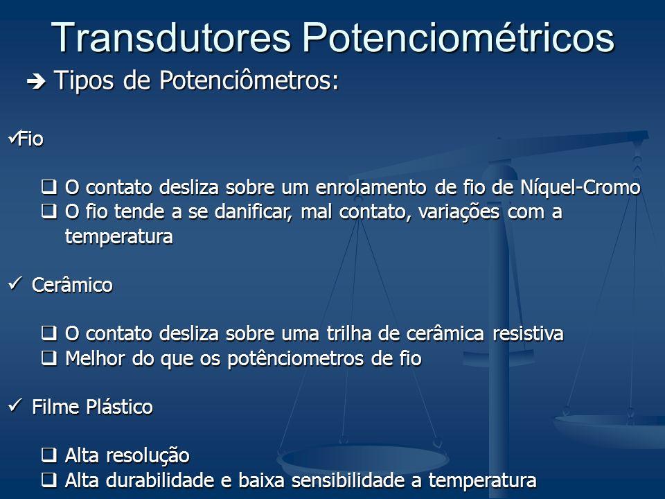 Transdutores Potenciométricos Tipos de Potenciômetros: Tipos de Potenciômetros: Fio Fio O contato desliza sobre um enrolamento de fio de Níquel-Cromo