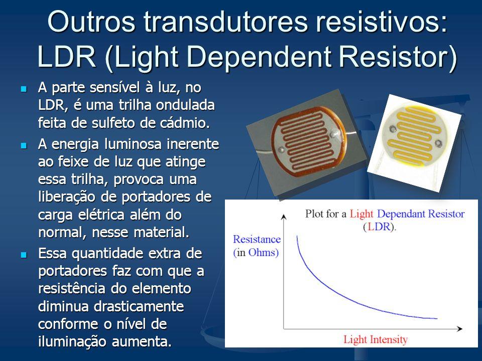 Outros transdutores resistivos: LDR (Light Dependent Resistor) A parte sensível à luz, no LDR, é uma trilha ondulada feita de sulfeto de cádmio. A par