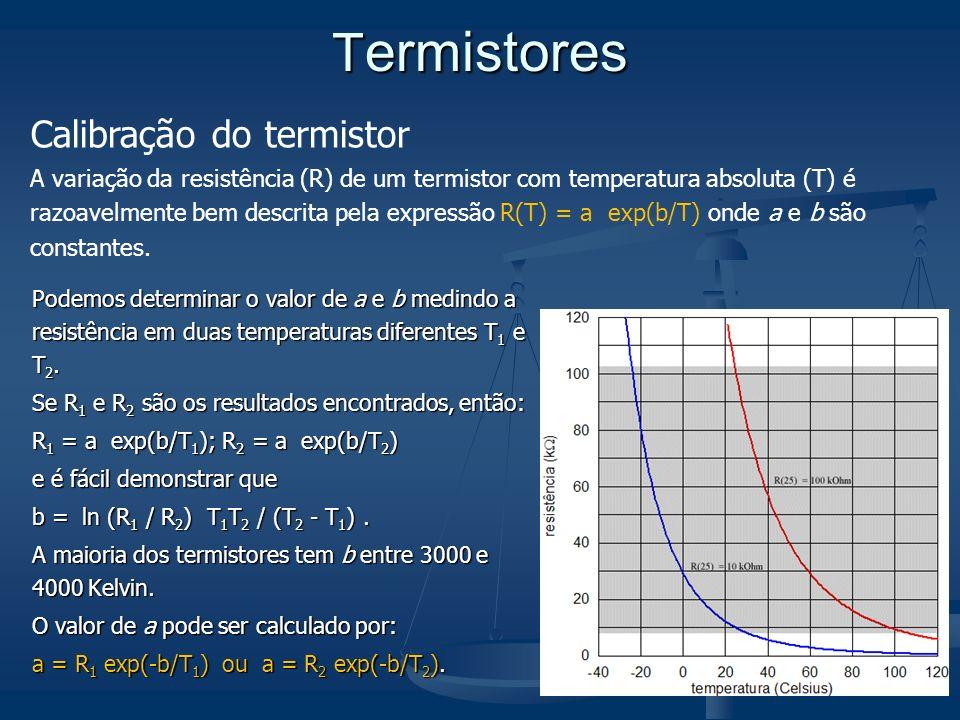 T ermistores Podemos determinar o valor de a e b medindo a resistência em duas temperaturas diferentes T 1 e T 2. Se R 1 e R 2 são os resultados encon