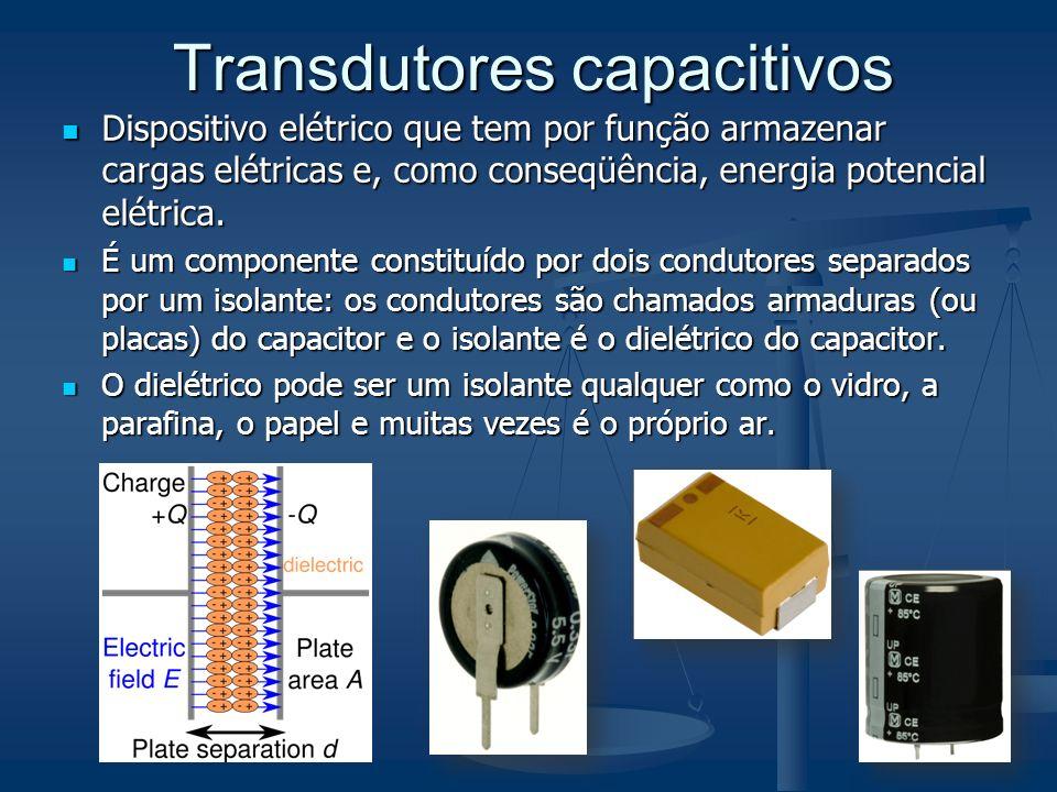 Transdutores capacitivos Dispositivo elétrico que tem por função armazenar cargas elétricas e, como conseqüência, energia potencial elétrica. Disposit