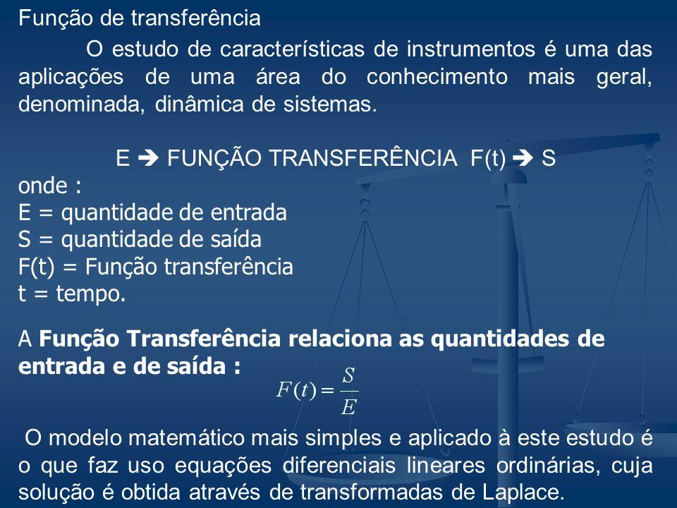 Função de transferência O estudo de características de instrumentos é uma das aplicações de uma área do conhecimento mais geral, denominada, dinâmica