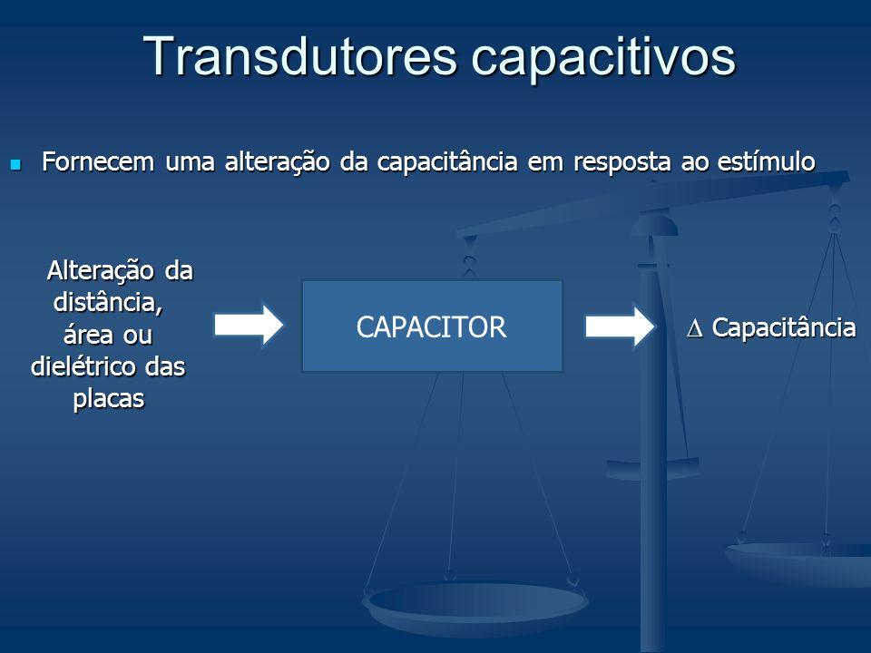 Transdutores capacitivos Fornecem uma alteração da capacitância em resposta ao estímulo Fornecem uma alteração da capacitância em resposta ao estímulo