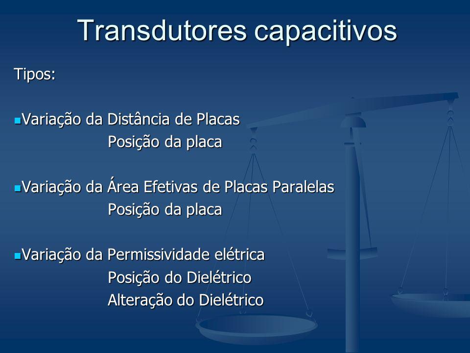 Tipos: Variação da Distância de Placas Variação da Distância de Placas Posição da placa Variação da Área Efetivas de Placas Paralelas Variação da Área