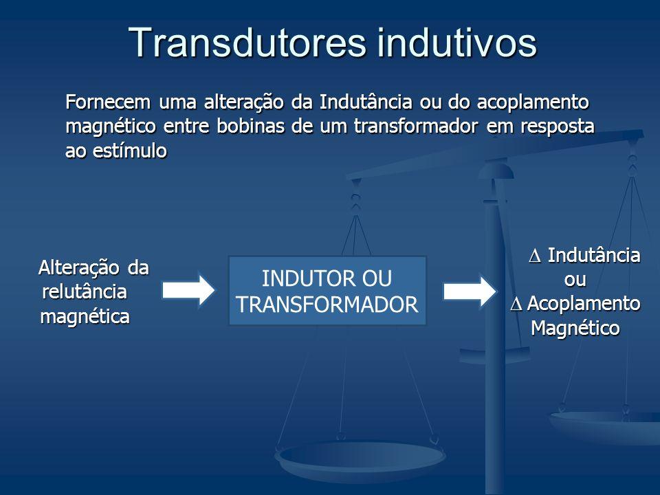 Transdutores indutivos Fornecem uma alteração da Indutância ou do acoplamento magnético entre bobinas de um transformador em resposta ao estímulo Alte