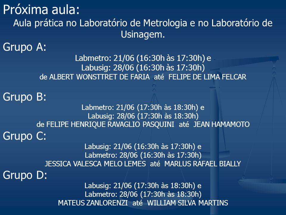 Próxima aula: Aula prática no Laboratório de Metrologia e no Laboratório de Usinagem. Grupo A: Labmetro: 21/06 (16:30h às 17:30h) e Labusig: 28/06 (16