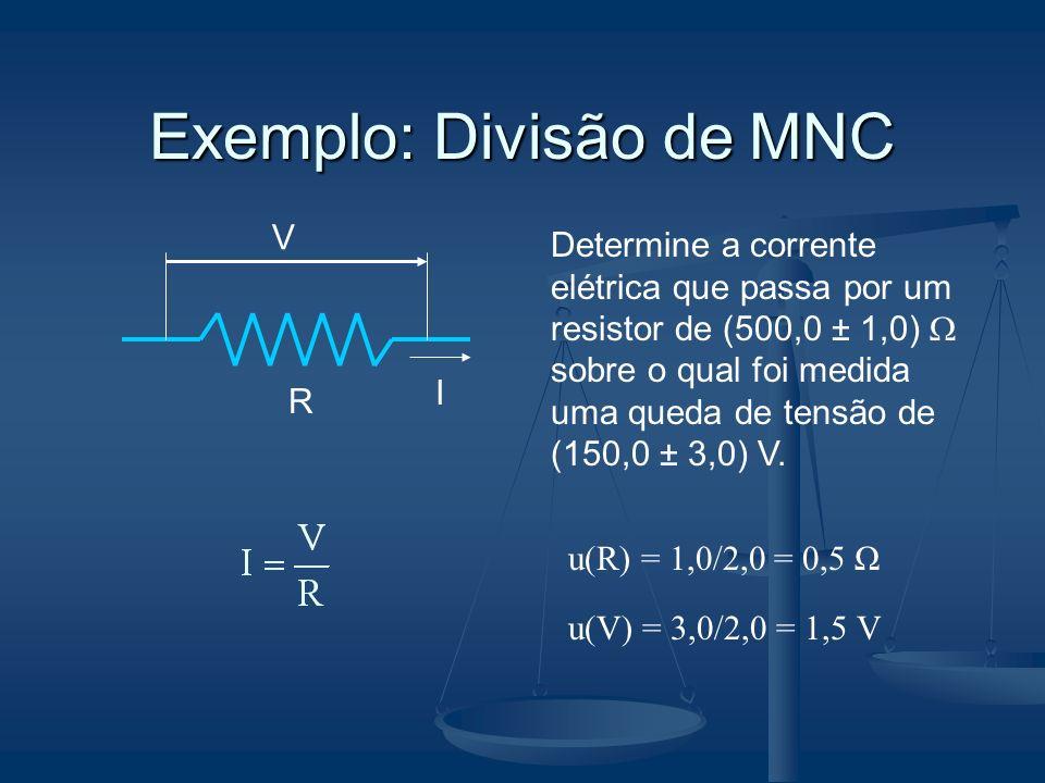 Exemplo: Divisão de MNC V R I Determine a corrente elétrica que passa por um resistor de (500,0 ± 1,0) sobre o qual foi medida uma queda de tensão de