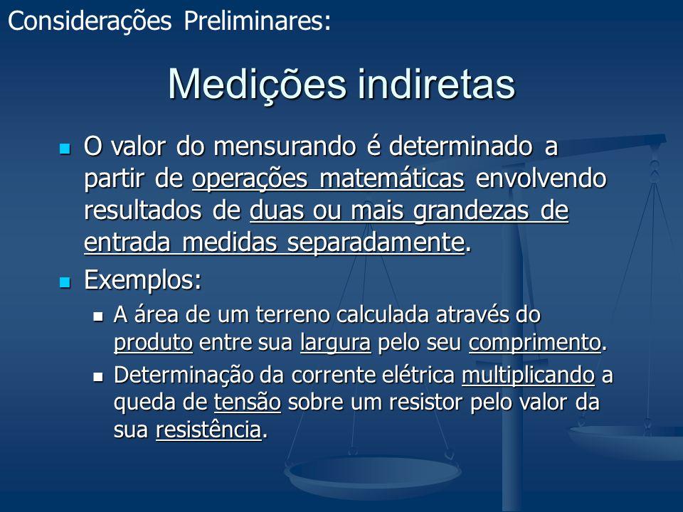 O Modelo Matemático É necessário um modelo matemático que relacione as grandezas de entrada com o valor do mensurando.