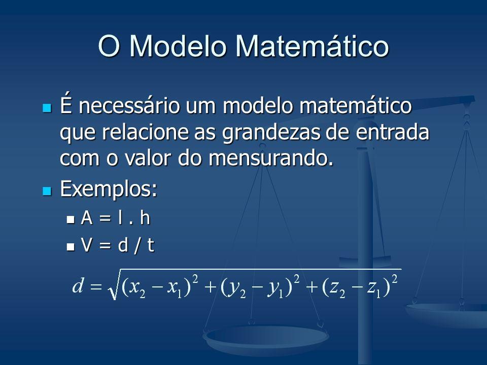 O Modelo Matemático É necessário um modelo matemático que relacione as grandezas de entrada com o valor do mensurando. É necessário um modelo matemáti
