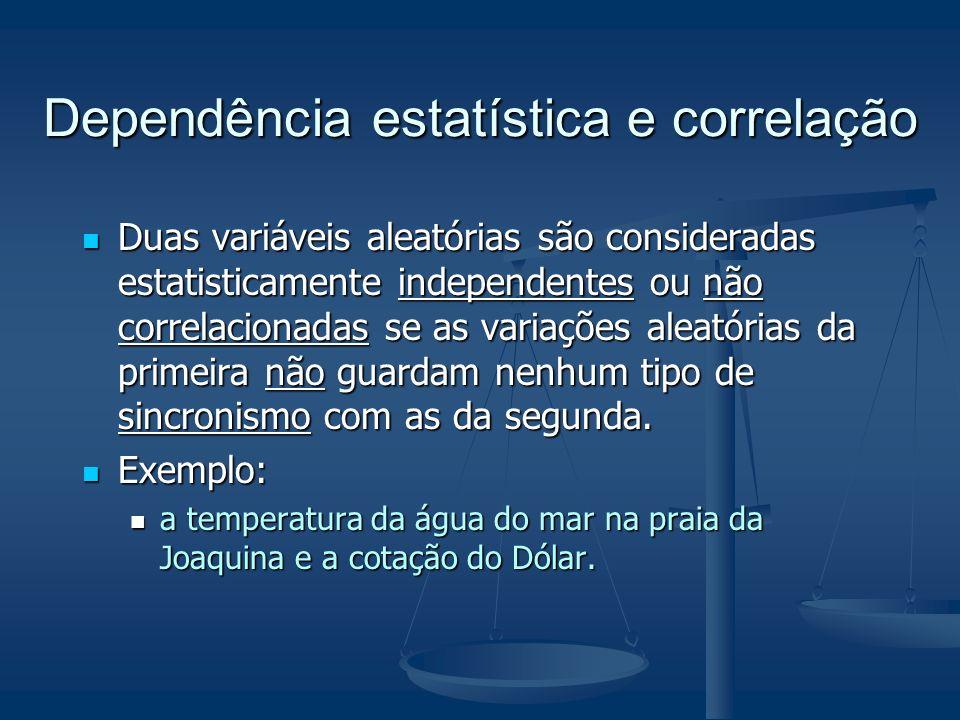 Dependência estatística e correlação Duas variáveis aleatórias são consideradas estatisticamente independentes ou não correlacionadas se as variações