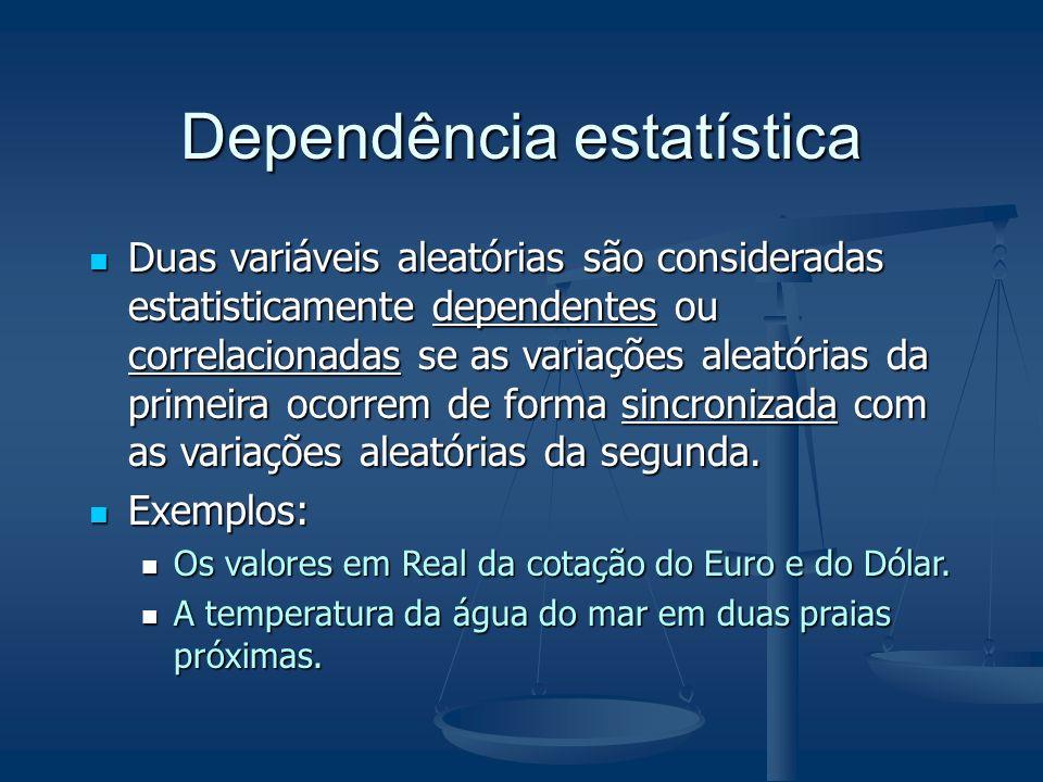 Dependência estatística Duas variáveis aleatórias são consideradas estatisticamente dependentes ou correlacionadas se as variações aleatórias da prime